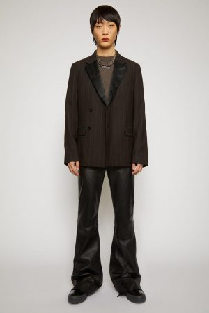 Vestes de costume Acne Studios Homme | Double-breasted pinstriped jacket Cacao Brown