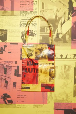 Shopping tote Acne Studios Femme/Homme | Oilcloth tote bag Yellow/Red