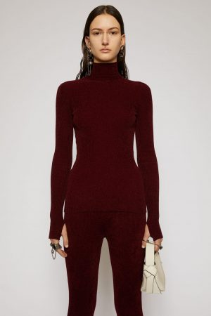 Maille Acne Studios Femme | High neck ribbed sweater Dark Red