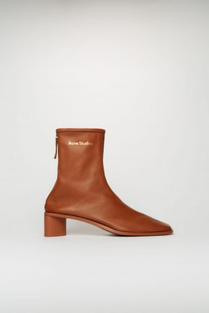 Bottines Acne Studios Femme | Branded leather boots Rust Brown/Rust Brown
