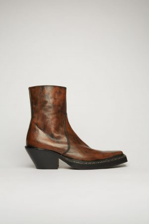 Bottines Acne Studios Femme | Western leather boots Brown