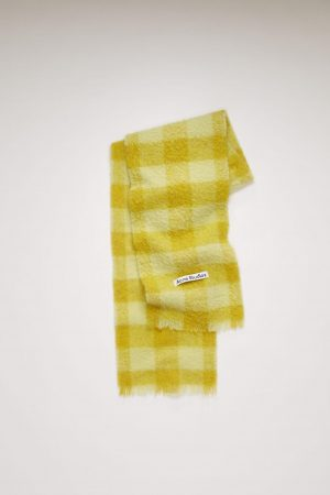 Écharpes Acne Studios Femme/Homme   Checked scarf Soft Yellow/Sharp Yellow