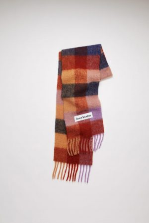 Écharpes Acne Studios Femme/Homme | Large check scarf Brown/Lilac/Navy
