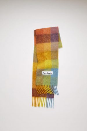 Écharpes Acne Studios Femme/Homme | Large check scarf Yellow/Powder Blue/Brown