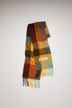 Écharpes Acne Studios Femme/Homme | Multi check scarf Chestnut Brown/Yellow/Green