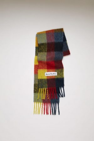 Écharpes Acne Studios Femme/Homme | Multi check scarf Red/Yellow/Dark Blue
