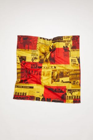 Écharpes Acne Studios Femme/Homme | Newspaper-print-scarf Red/Yellow
