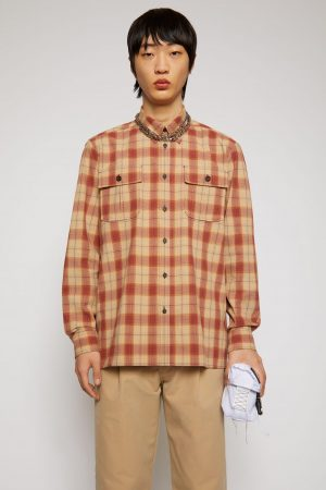 Chemises Acne Studios Homme   Checked flannel shirt Beige/Red