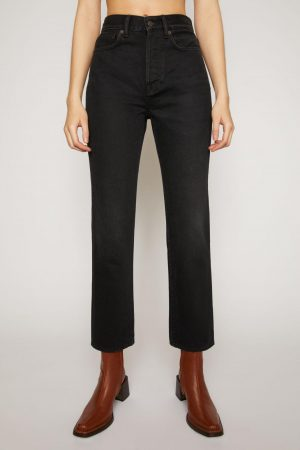 Jeans Acne Studios Femme | Cropped straight fit jeans Washed Black