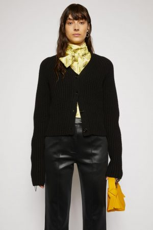 Maille Acne Studios Femme | Ribbed wool cardigan Black