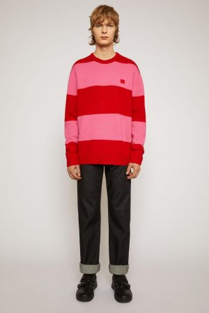 Maille Acne Studios Femme/Homme | Pull à rayures larges Rouge/Rose Chewing-Gum