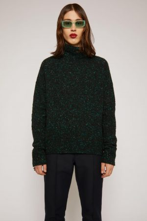 Maille Acne Studios Homme   Flecked high-neck sweater Black/Green