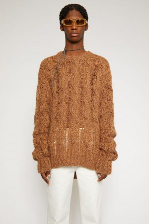 Maille Acne Studios Homme | Melange cable-knit sweater Brown/Burgundy