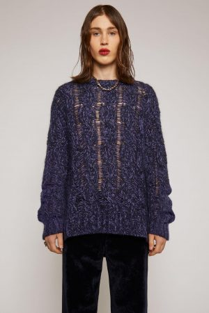 Maille Acne Studios Homme   Melange cable-knit sweater Navy/Lilac