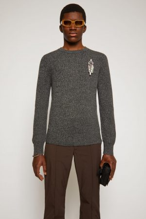 Maille Acne Studios Homme   Melange ribbed sweater Multi Anthracite