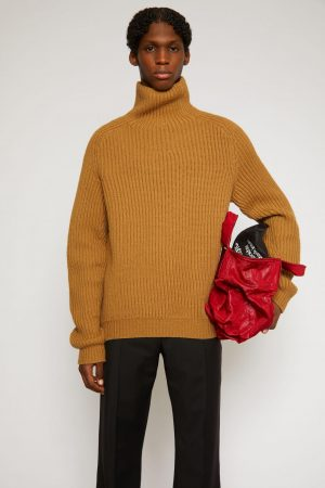 Maille Acne Studios Homme | Ribbed roll neck sweater Hazel Beige