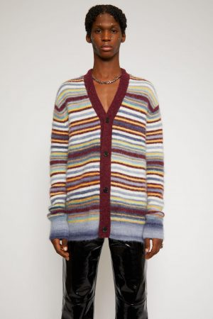 Maille Acne Studios Homme | Striped cardigan Burgundy Multi