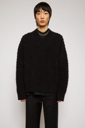 Maille Acne Studios Homme | Textured-knit sweater Black