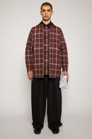 Manteaux et vestes Acne Studios Homme   Checked quilted overshirt Burgundy/Beige