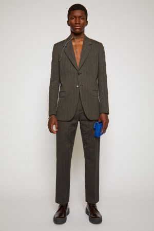 Manteaux et vestes Acne Studios Homme | Single-breasted pinstriped jacket Graphite/Anthracite Grey