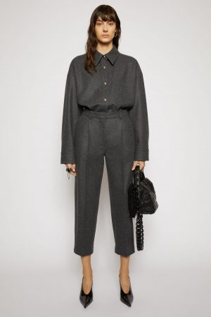 Pantalon Acne Studios Femme | Tapered wool-blend trousers Charcoal Grey