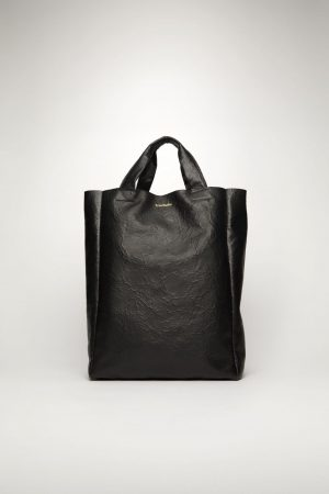 Shopping tote Acne Studios Femme/Homme | Crinkled leather tote bag Black